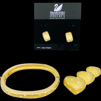 Swarovski Satiny Gold Bracelet Heart Pin Earrings Set