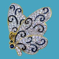 Vintage SWAROVSKI Butterfly Pin w/Black Swirls