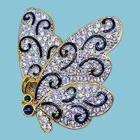 Vintage SWAROVSKI Butterfly Pin w/Black Swirls