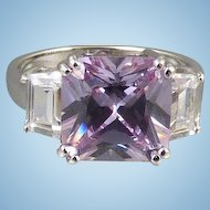 Sterling Purple Rhinestone Ring