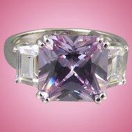Sterling Purple Rhinestone Ring