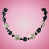 Black Silver Filigree Bead Necklace