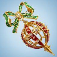 Christmas Ornament Pin Earrings Set