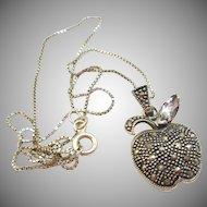 Sterling Marcasite Apple Pendant Necklace