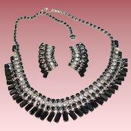 Vintage Black Rhinestone Necklace Earrings Set