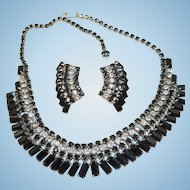 Vintage Black Rhinestone Necklace Earrings Set