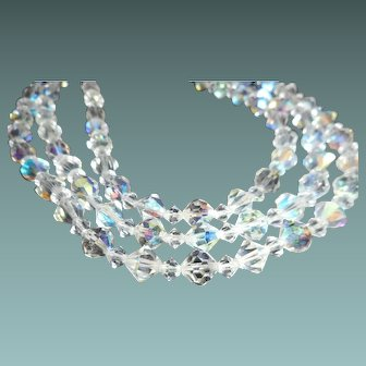 3 Strand Faceted Aurora Borealis Bead Necklace