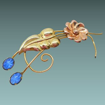 Vintage Gold Filled Retro Pin with Star Sapphires