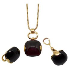Monet Black/Gold Necklace Earrings Set