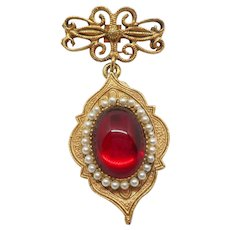 Dangly Red Medal Style Pin