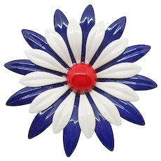 Big Red White Blue Flower Pin