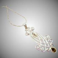 Sterling Olivine Green Pendant Necklace