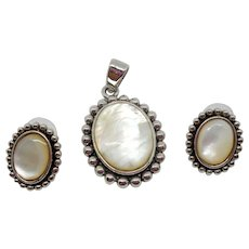 Mother of Pearl Pendant and Earrings