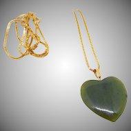 Vintage Jade Heart Pendant Necklace