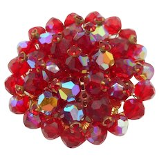 Alice Caviness Red Aurora Borealis Beaded Pin