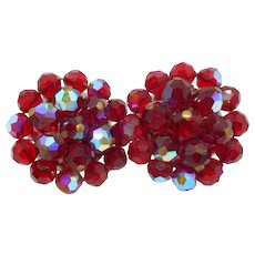 Faceted Red Aurora Borealis Beaded Earrings
