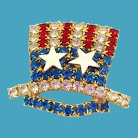 Uncle Sam Hat Rhinestone Pin