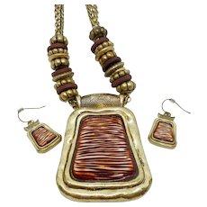Chunky BOHO Wood Look Necklace Earrings Set