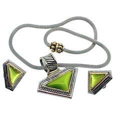 Green Cat's Eye Mesh Necklace Earrings Set
