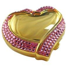 Estee Lauder Pink Rhinestone Heart Compact