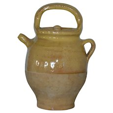 French stoneware jug with lid 1920's