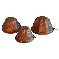French copper jelly or cake molds 1950's