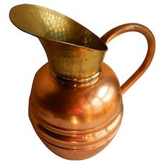 Copper and Brass jug from France from the 1950's