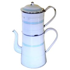French vintage enamel large coffee pot cafetiere from the 1950's