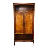 Art Nouveau Cabinet in Carved Walnut and Elm Burl, France, circa 1905