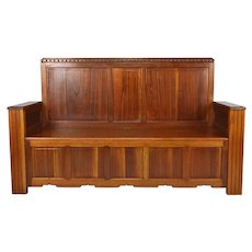 Art Deco French Mahogany Hall Chest Bench by Clément Goyeneche, 1930s