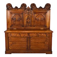 19th Century French Gothic Revival Carved Hall Chest Bench