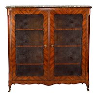 French 18th Century Louis XV Period Bookcase With Marble Top By Pierre Garnier