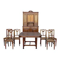French Art Nouveau Dining Room Set In Carved Walnut circa 1900