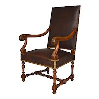 Large Antique Louis XIII Style Leather and Carved Walnut Desk Chair, France, circa 1860