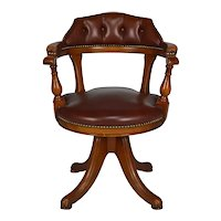 Office swivel chair, wood and leather, Chesterfield style