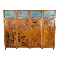 Antique Art Nouveau Pyrographed Wood & Stained Glass Four-Panel Folding Screen