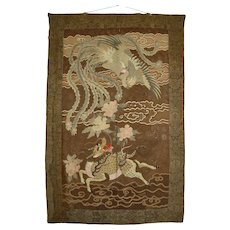 Antique Japanese Large Meiji Period Silk Embroidery Tapestry