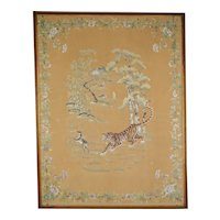Large Antique Asian silk embroidery tapestry, Tiger hunting a Deer, 19th Century