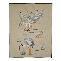 Large Asian Art Deco Embroidered Silk Tapestry, circa 1930