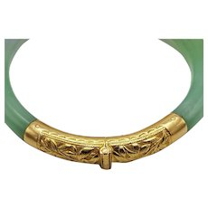 A Chinese Certificated Natural Untreated Jadeite Jade ( A Jade ) and 18 Carat Gold Hinged Bangle