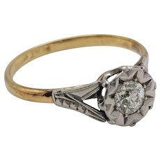 Antique Edwardian Platinum and 18 Carat Gold Diamond Ring