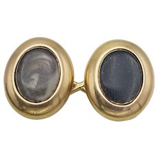 A Rare Pair of Antique Victorian 15 Carat Gold Cufflinks With Hair Lockets