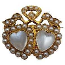 An Antique Victorian Moonstone and Pearl Sweetheart Brooch
