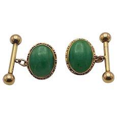 A Pair of Vintage 18 Carat Gold Jade Cufflinks