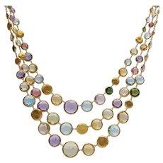 Signed Marco Bicego 18 Carat Gold Jaipur Triple Necklace