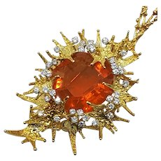 Certificated 40 Carat Fire Opal, Diamond and 18 Carat Gold Retro Necklace by George Weil Ca 1970