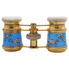 A Fine Pair of Antique French Enamelled Opera Glasses by Carpentier Paris