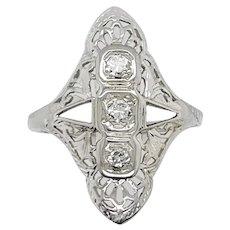 Vintage Diamond Shield Ring