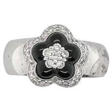 Onyx and Diamond Flower Ring
