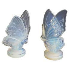 Pair of Vintage Sabino Glass Butterfly Figurines